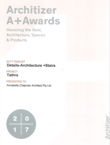 'Tathra' Project was one of the 5 Finalists in the New York based publication Architizer A+ Awards in 2017